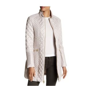 NWT Via Spiga Diamond Quilted Coat Large Oyster